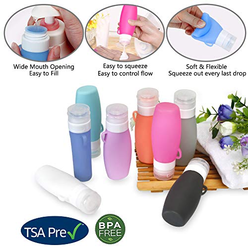Leak Proof Travel-Bottles TSA Approved Containers, 3oz Squeeze Silicone Travel Size Toiletries Accessories, Empty Refillable bottles for Shampoo Conditioner Lotion Soap Liquids, Clear Toiletry Bag