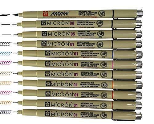 Sakura Pigma Micron Artist pens 12 Fineliner Archival Ink Black & Colors, 8 Assorted Colors with 4 Black (01, 05, 08, Brush Pen) ()