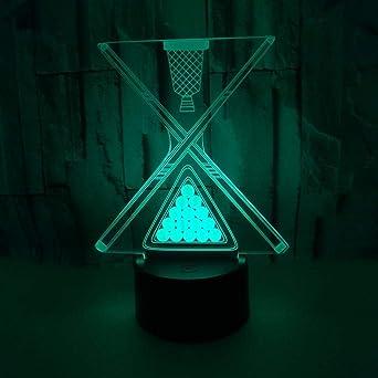 Luces de billar en 3D Luces de colores en la mesita Luces de LED ...