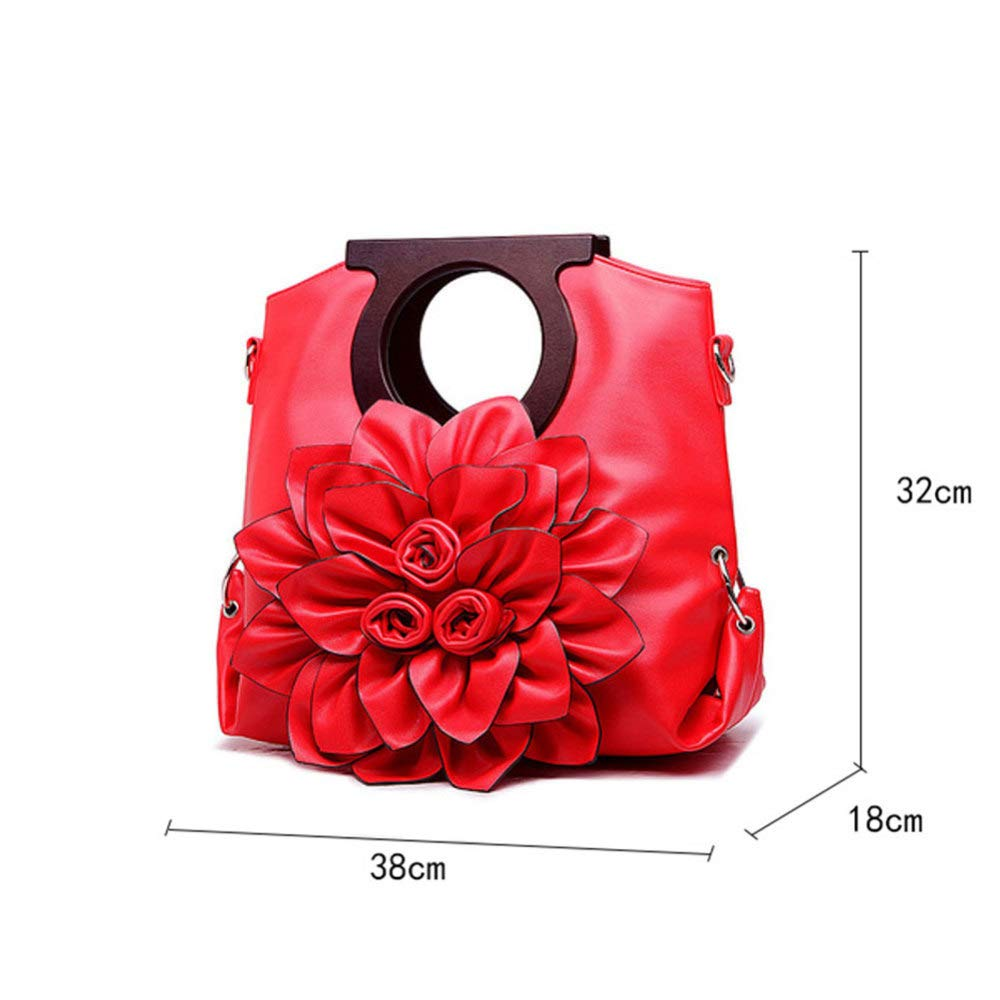 Women's Handbags XDDQ Handbags For Ladies Flower Bag WomenS Bag European And American Wind Lady Single Shoulder Handbag Pure Color Oblique Carry Large Bag Red Handbags & Shoulder Bags