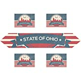 vintage american flag scarf - Vintage American Flag Ohio State Toledo Skyline Rectangle Table Runner 13 x 70 inch with Placemat Table Mat 12 x 18 inch Set of 4, for Wedding, Party, Dinner, Summer & Picnic Country Outdoor Home Deco