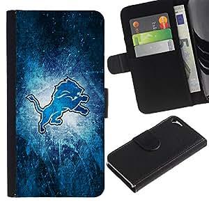 Protector de cuero de la PU de la cubierta del estilo de la carpeta del tirón BY RAYDREAMMM - Apple Iphone 5 / 5S - Blue Lion