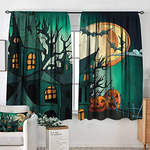 Anzhutwelve Halloween,Customized Chid Curtains Halloween Haunted Castle 104