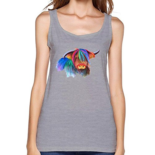 dyh5l1q Women's Highland Cow Tank Top 100% Cotton