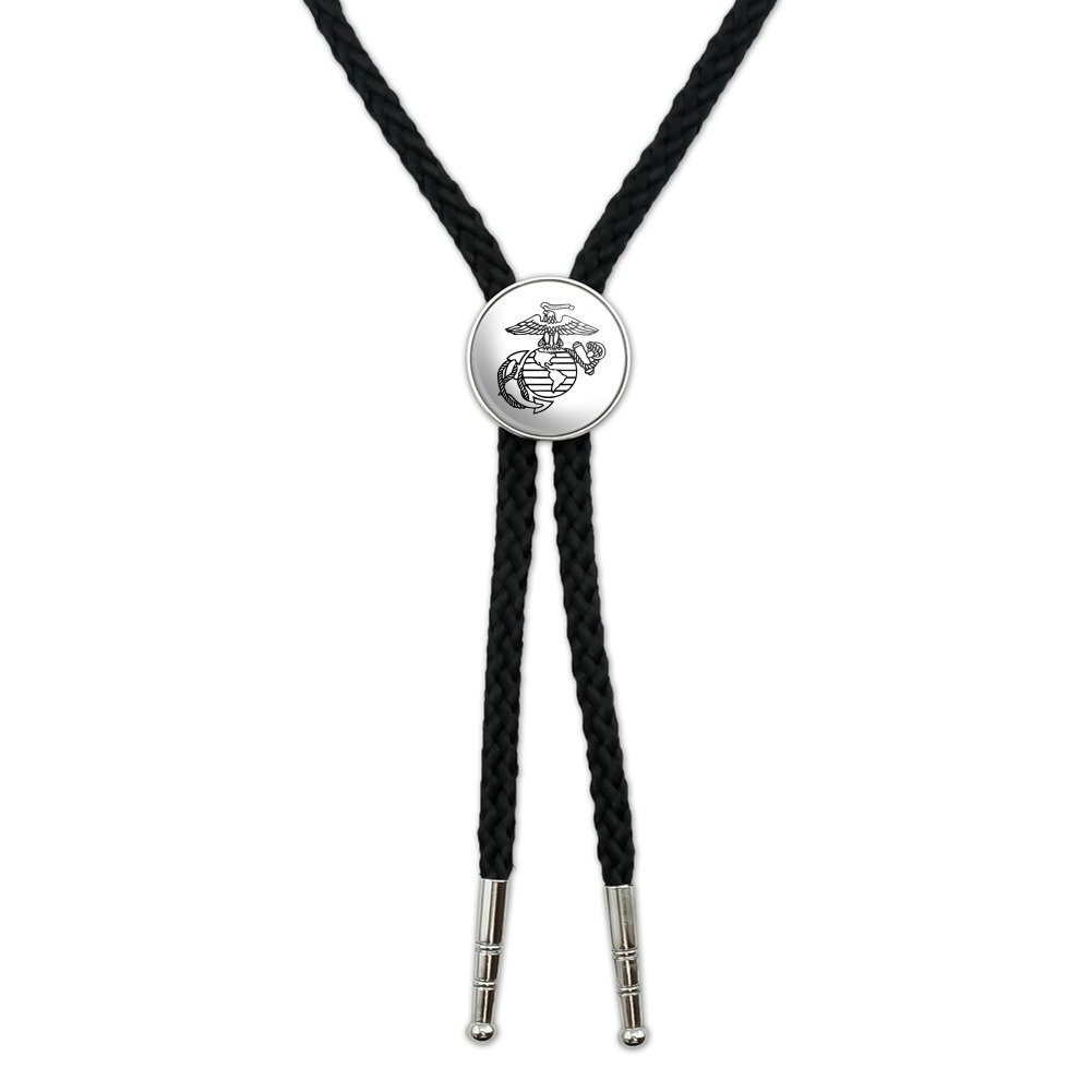 Marine Corps USMC Black White Eagle Globe Anchor Logo Officially Licensed Western Southwest Cowboy Necktie Bow Bolo Tie GRAPHICS & MORE 00_AGLACFVT_02