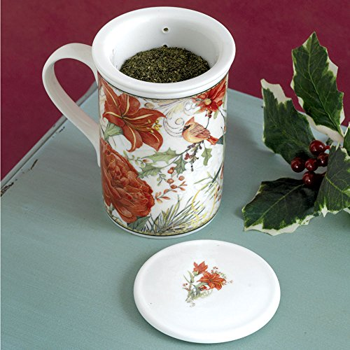 (Bits and Pieces - Gorgeous Porcelain Cardinal Tea Seeper Set - Quality Infuser for Superior Brewing Experience - Comes in Complementary Gift Box)