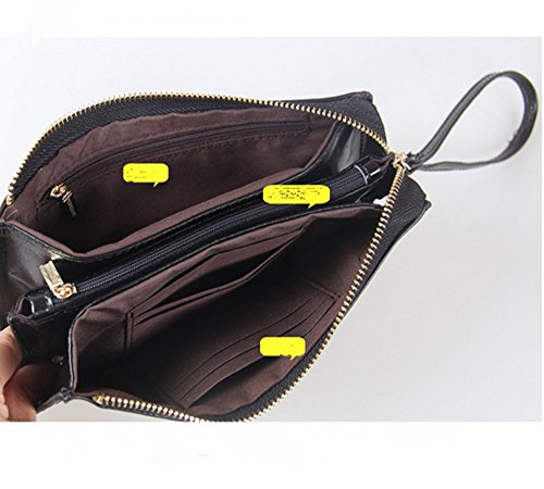 Eysee - Cartera de mano para mujer negro amarillo limón 20.5cm*11cm*1.5cm. rosa