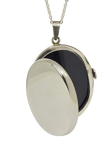 3a9f4216251f Sicuore Collar Colgante Guardapelo Oval Liso para Mujer Hombre ...