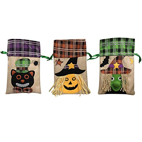 (OGU'Deal Linen Drawstring Trick or Treat Tote Bags,Halloween Candy Decorate Bag(3)