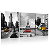 Kreative Arts - Wall Art Decor 3 Pieces Modern Painting Framed London Canvas Prints London Street Yellow Bus Taxi England City Buildings Eiffel Tower Red Car In Black And White Paintings