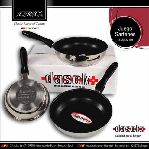 FranquiHOgar Juego de 3 sartenes antiadherentes DASCK Plus: 16cm, 20cm y 22cm APTAS para Inducción: Amazon.es: Hogar