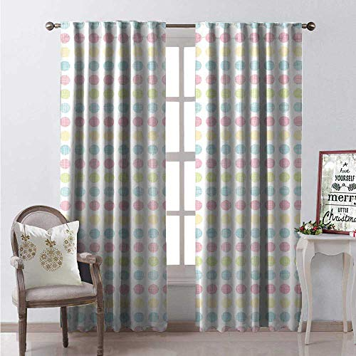 - Hengshu Polka Dots Thermal Insulating Blackout Curtain Colorful Circular Motifs Scribble Streaks Blackout Draperies for Bedroom W84 x L108 Pale Seafoam Beige Pastel Pink Avocado Green