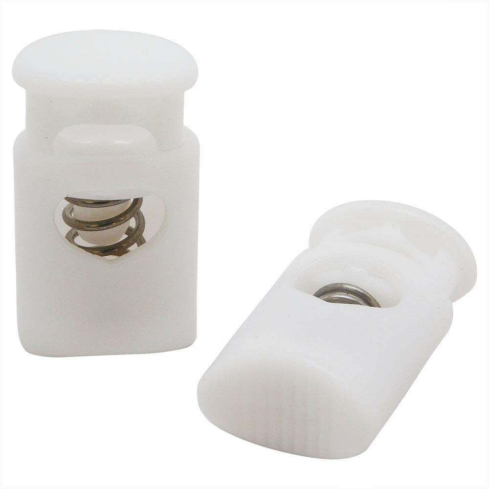 Crown Cord Lock End - Heavy Duty Plastic Spring Stop Toggle Stoppers (White, 500 Pack) by Lotus energy