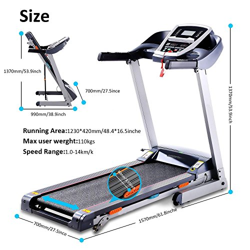 Vividy Folding Electric Treadmill Exercise Equipment Gym Home Motorized Walking Running Training Machine with APP Bluetooth Control