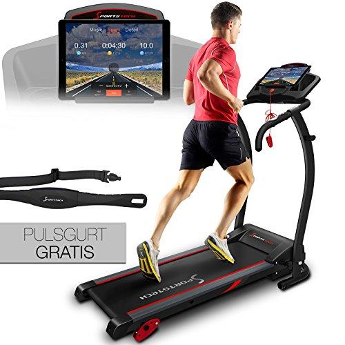 Sportstech F15 Laufband mit Smartphone App Steuerung, Bluetooth, 3 PS, 12 KM/H, 17 Programme und Tablethalterung - kompakt klappbar verstaubar