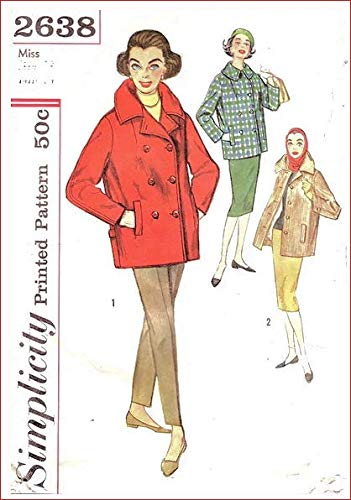 Simplicity 2638 Misses Car Coat, Single or Double Breasted Vintage Sewing Pattern