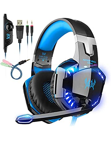 PREUP Auriculares Gaming Cascos PS4, Micrófono Control de Volumen LED Luz 3.5mm Jack,