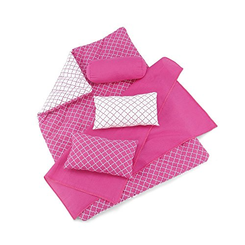 18 Inch Doll Accessories | Reversible Pink and White Moroccan Tile Print Bedding Set with Comforter, 3 Pillows and Sheet | Fits American Girl Dolls ()