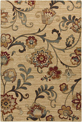 Diva At Home 5.25' x 7.25' Ramas Flores Tan and Olive Green Rectangular Area Throw Rug