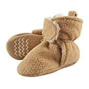 Hudson Baby Baby Cozy Sherpa Booties with Non Skid Bottom, Tan, 6-12 Months