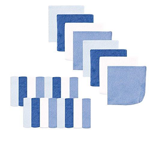Luvable Friends Washcloths, Light Blue, 24 Count