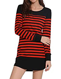 HHei_K Womens Casual Long Sleeve Round Neck Stripes Patchwork Shoulder Button Mini Shirt Dress