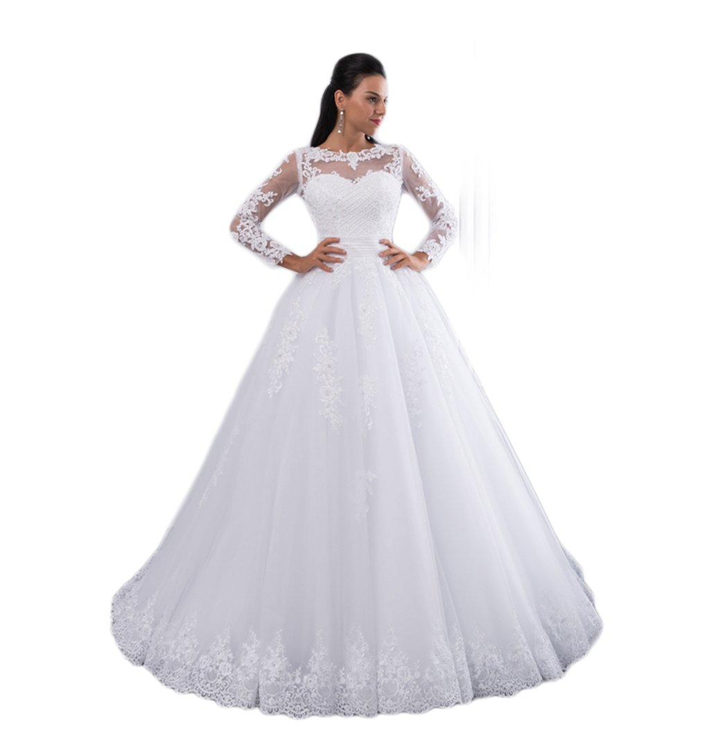 Girls Dress Ball Gown Wedding Dresses 2018 Detachable Train Lace Pearls Bridal Gowns Crystal Sashes Vestido De Novias at Amazon Womens Clothing store: