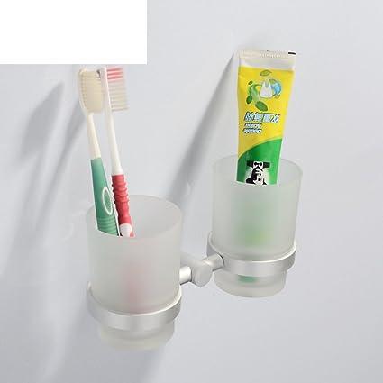 portavasos doble de aluminio espacio/Cepillo de dientes portavasos/traje de soporte del vaso