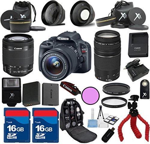 Canon SL1 Camera Body For 18-55mm IS STM Lens + 75-300mm III + 24pc Kit - International Version