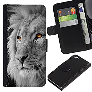 iKiki Tech / Cartera Funda Carcasa - Lion White Black King Africa Orange - Apple iPhone 6 4.7