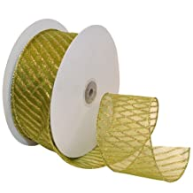 Morex Ribbon Stripes Wired Sheer Glitter Ribbon, 2-1/2-Inch by 50-Yard Spool, Spring Moss/Gold