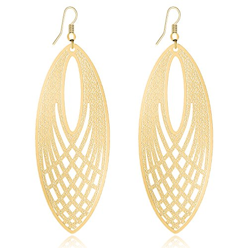 LY8 Fashion Women's Filigree Leaf Lightweight Cutout Oversized Dangles Earrings Jewelry Golden -