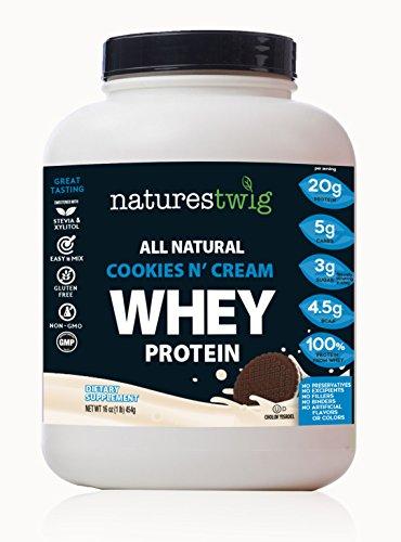 NaturesTwig All Natural Whey Protein (Kosher- Cholov Yisroel) (Cookies N' Cream) 16 oz (1lb) 454g (Kosher Cream)