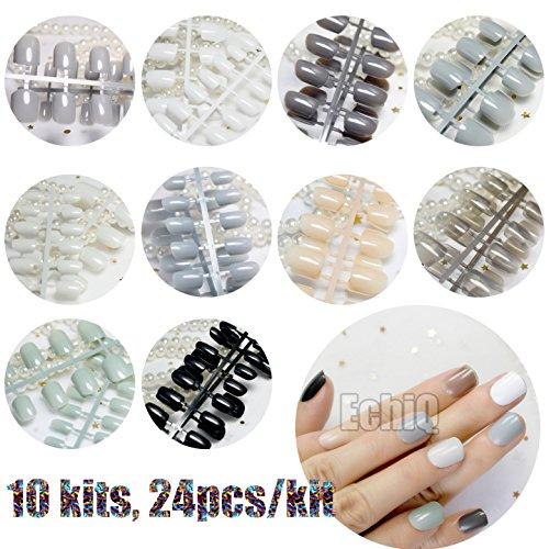 10 Sets Different Candy False Nails Short Square Pure Color Acrylic Nails Wholesale 10 kits Simply Designed Tips -Mix color