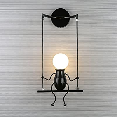 SOUTHPO LED Wall Light Fixtures Creative Cartoon Little People Wall Sconces Lighting Indoor Bedroom Hallway Shop Modern Metal Bedside Lamp Decor Adjustable Wall Lamps Swing Arm 1×E26 MAX 40W