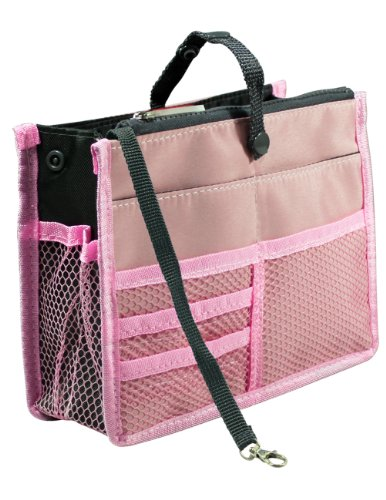 Nifty Patented Handbag Purse Organizer Insert - 18 Compartments - Pink