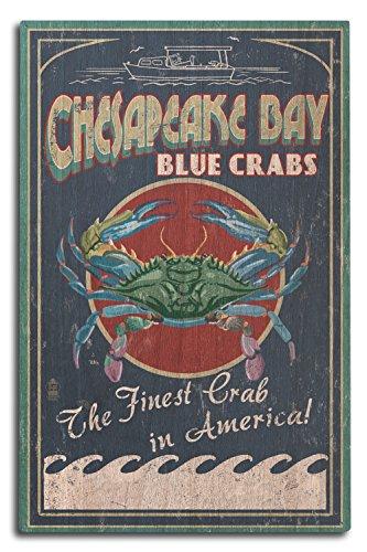 Lantern Press Chesapeake Bay, Virginia - Blue Crab Vintage Sign (10x15 Wood Wall Sign, Wall Decor Ready to Hang)