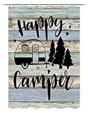 Camper RV Shower Curtain, Camper Trailer and Tree on Rustic Wooden Shorter and Narrow Shower Curtain Curtain with Hooks Set, 47x64 inches