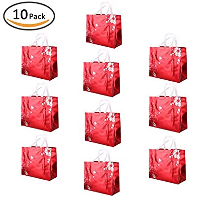Rumcent Bling Bling Glossy Durable Reusable Medium Non-woven Gift Bag Set Of 10,Shopping Bag,Promotional Bag