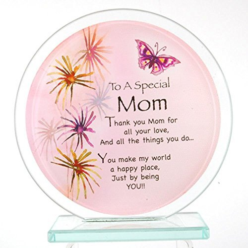 StealStreet GWE-828 Special Mom Inspirational Glass Circle Standing Plaque, Pink