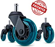 STEALTHO Replacement Office Chair Caster Wheels Set of 5 - Protect Your Floor - Quick & Quiet Rolling Over