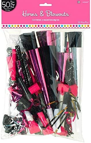 15 x 9 3//8 Pack of 50 Elegant Black and Pink Birthday Party MVP Horns and Blowouts Black//Pink//Silver
