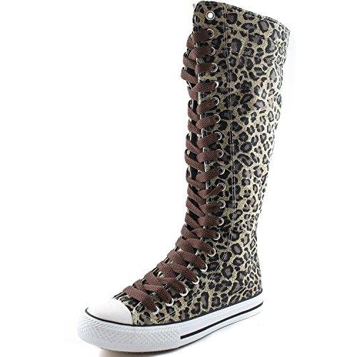 Dailyshoes Tela Donna Stivali Alti Metà Polpaccio Casual Sneaker Punk Flat, Stivali Leopardati, Hot Brown Lace