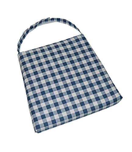 (Indoor Cotton Soho Rattan Wicker / Banana Leaf / Seagrass Parson Chair Trapezoid Foam Seat Cushion w/ Strap - Blue Plaid / Country Checkered / Checkerboard - 17