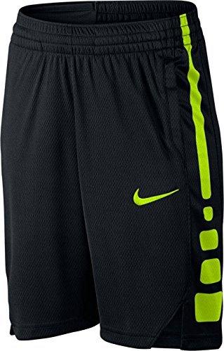 NIKE Boys' Dry Elite Stripe Basketball Shorts (XL, Black/Volt)