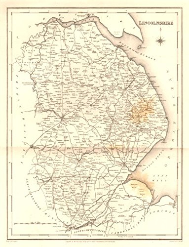 Antique county map of LINCOLNSHIRE. Walker, Creighton & Lewis. Spotting - c1840 - old map - antique map - vintage map - printed maps of Lincolnshire