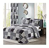 All American Collection Black and Grey Modern Plaid 2-Piece Twin Bedspread and Pillow Sham Set | Matching Curtains Available!