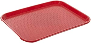 Fast Food Tray 10 x 14 Red Rectangular Polypropylene Serving Tray for Cafeteria, Diner, Restaurant, Food Courts
