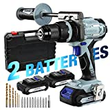 WORKPRO 20V Brushless Cordless Drill Driver Kit, 2 Li-Ion Batteries(2.0 Ah), 1/2'Chuck, 487 IN-LBS, 21+3 Torque Setting, Auxiliary Handle and 17-Piece Drill/Driver Bits Included