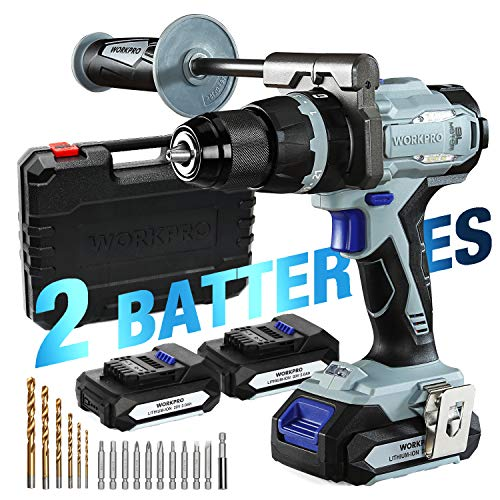 "WORKPRO 20V Brushless Cordless Drill Driver Kit, 2 Li-Ion Batteries(2.0 Ah), 1/2""Chuck, 487 IN-LBS, 21+3 Torque Setting, Auxiliary Handle and 17-Piece Drill/Driver Bits Included"